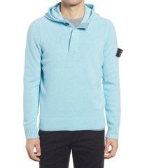 men's stone island wool blend hoodie, size medium - blue