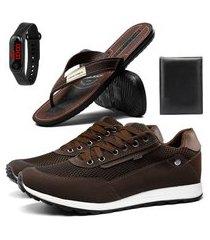 combo de tênis masculino sapatênis com chinelo, carteira e relógio sapatofran café