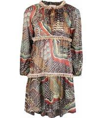 anjuna luana frayed-detail dress - brown