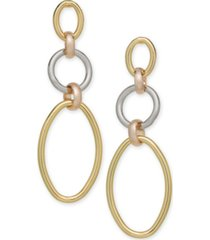 alfani tri-tone linked hoop triple drop earrings, created for macy's