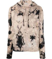 tie-dye hoodie jumper, noir and beige