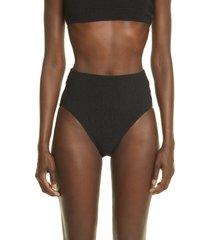 toteme smocked bikini bottoms, size large in black at nordstrom