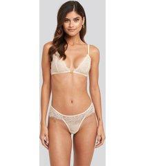 na-kd lingerie high cut lace panty - white
