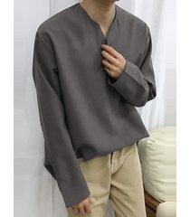 incerun hombre algodón cómodo soft camiseta holgada informal de manga larga con cuello en v