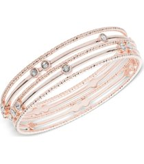 anne klein rose gold-tone crystal multi-row bangle bracelet, created for macy's