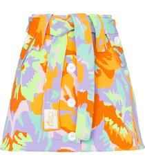 cap micheline belted skirt - camo flower neon