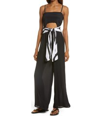 women's river island bandeau belted sleeveless cover-up jumpsuit, size x-small - black