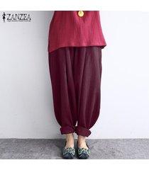 zanzea mujeres de la alta cintura largo baggy leggings pantalones harem hippy -rojo