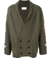 ports v embroidered varsity cardigan - green