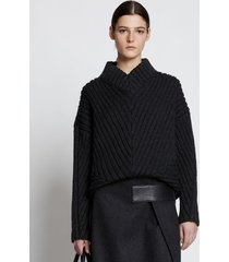 proenza schouler cable rib sweater charcoal l