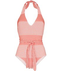 lemlem semira printed belted swimsuit - red