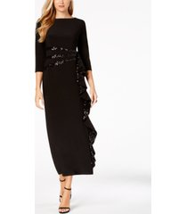 r & m richards cascading sequin-embellished dress