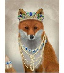 "fab funky fox with tiara, portrait canvas art - 15.5"" x 21"""