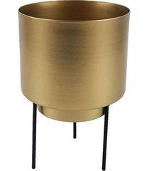 cachepot de metal dourado com suporte de metal - incolor - dafiti