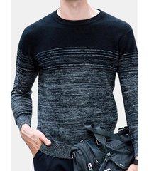 maglioncino casual da uomo con maniche lunghe in jacquard tondo collo