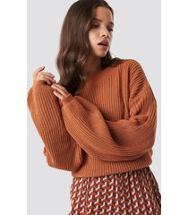 glamorous balloon arm knitted sweater - orange