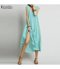 zanzea vendimia verano de las mujeres largas flojas tapas de la camisa holgada túnica del vestido maxi de boho -azul claro