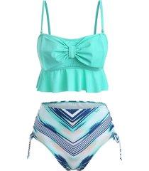geometric print bowknot ruffles tankini swimsuit