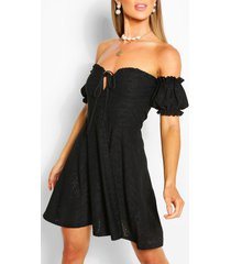 off shoulder jersey crochet skater dress, black