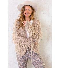 oversized knitted fringe vest taupe