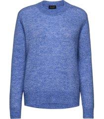 5066 - marta round neck stickad tröja blå sand