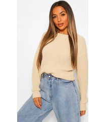 petite fisherman crew neck sweater, stone
