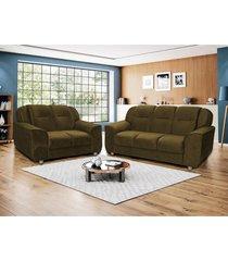 conjunto sofá 2 e 3 lugares 1,39 mts e 1,82 mts frança tecido suede amassado café
