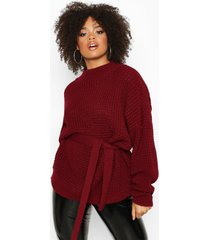 plus chunky knitted tie belt sweater, berry