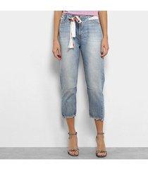 calça jeans capri coca-cola faixa cintura baixa feminina