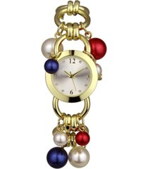 charter club women's red, white & blue imitation pearl charm gold-tone link bracelet watch 32mm, created for macy's