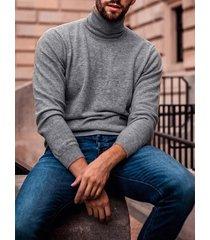 incerun hombres casual sólido súper soft alto cuello suéter
