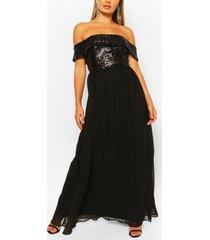 bruidsmeisjes maxi jurk met pailetten en boothals, zwart
