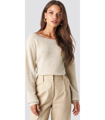 tina maria x na-kd boat neck knitted sweater - beige