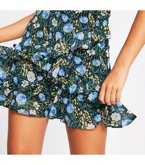 river island womens blue floral chiffon rara mini skirt