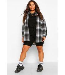 plus oversized boyfriend flannel shirt, black