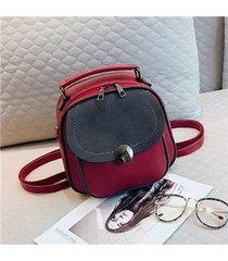mochilas/ vintage pu leather mochila mujeres bolsa-rojo