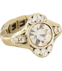 anel armazem rr bijoux regulável cristal redondo dourado