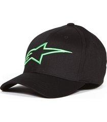 boné alpinestars logo astar preto/verde logo astar