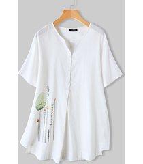 camicetta da donna con colletto alla coreana manica corta stampata a fiori