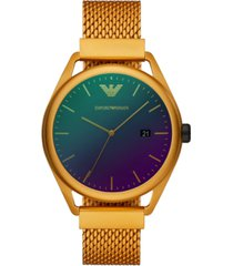 emporio armani men's yellow aluminum mesh bracelet watch 43mm