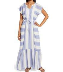 women's caslon print flutter sleeve maxi dress