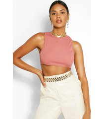 racer front drop armhole rib crop top, rose