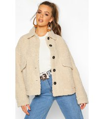 faux fur teddy trucker jas, steenrood