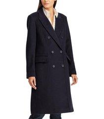 women's lauren ralph lauren double breasted wool blend coat, size 12 - blue