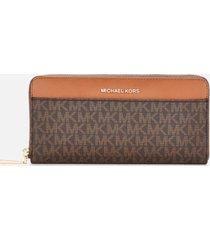 michael michael kors women's jet set pocket zip around continental wallet - brown