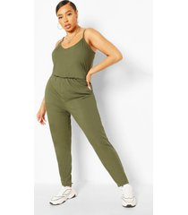 plus rib basic cami jumpsuit, khaki