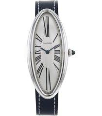 cartier 2000s pre-owned baignoire allongée wrist watch - silver