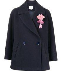 delpozo wide blazer jacket - blue