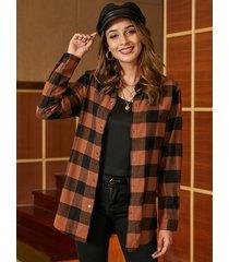 abrigo de manga larga con cuello clásico a cuadros marrones yoins
