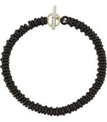 dodo 18kt yellow gold and silver rondelle titanium bracelet - black